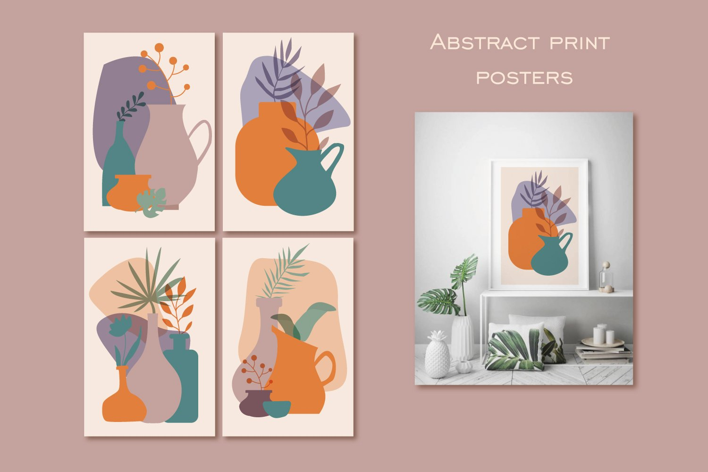 瑜伽元素女孩树叶花瓶抽象图形手绘插画设计素材 Woman Abstract Clipart Yoga Clipart PNG插图5