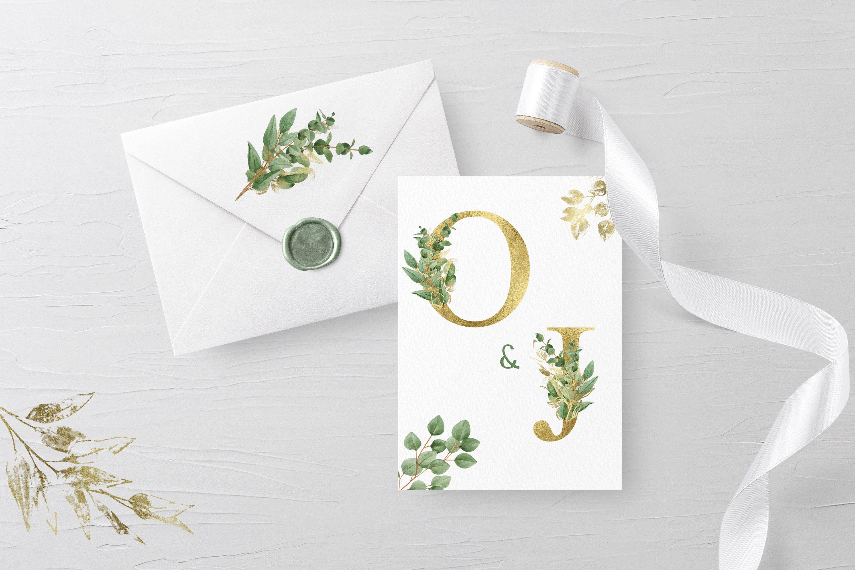 华丽金色字母树叶花卉装饰图案手绘剪贴画PNG透明图片素材 Sublimation Alphabet Gold Letters插图5