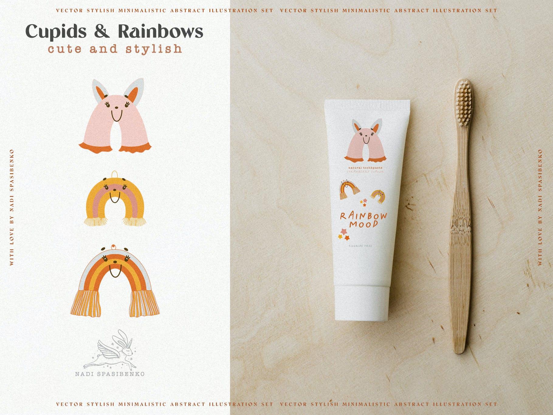 时尚抽象可爱卡通彩虹丘比特元素手绘插画矢量设计素材 Cupids & Cute Rainbows插图5
