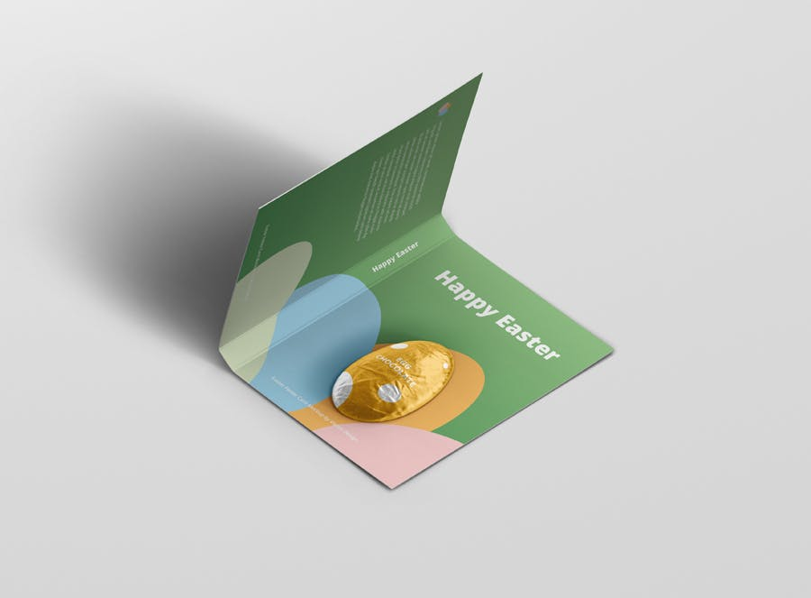时尚带巧克力文件夹卡片设计样机素材 Easter Folder Card Mockup插图5