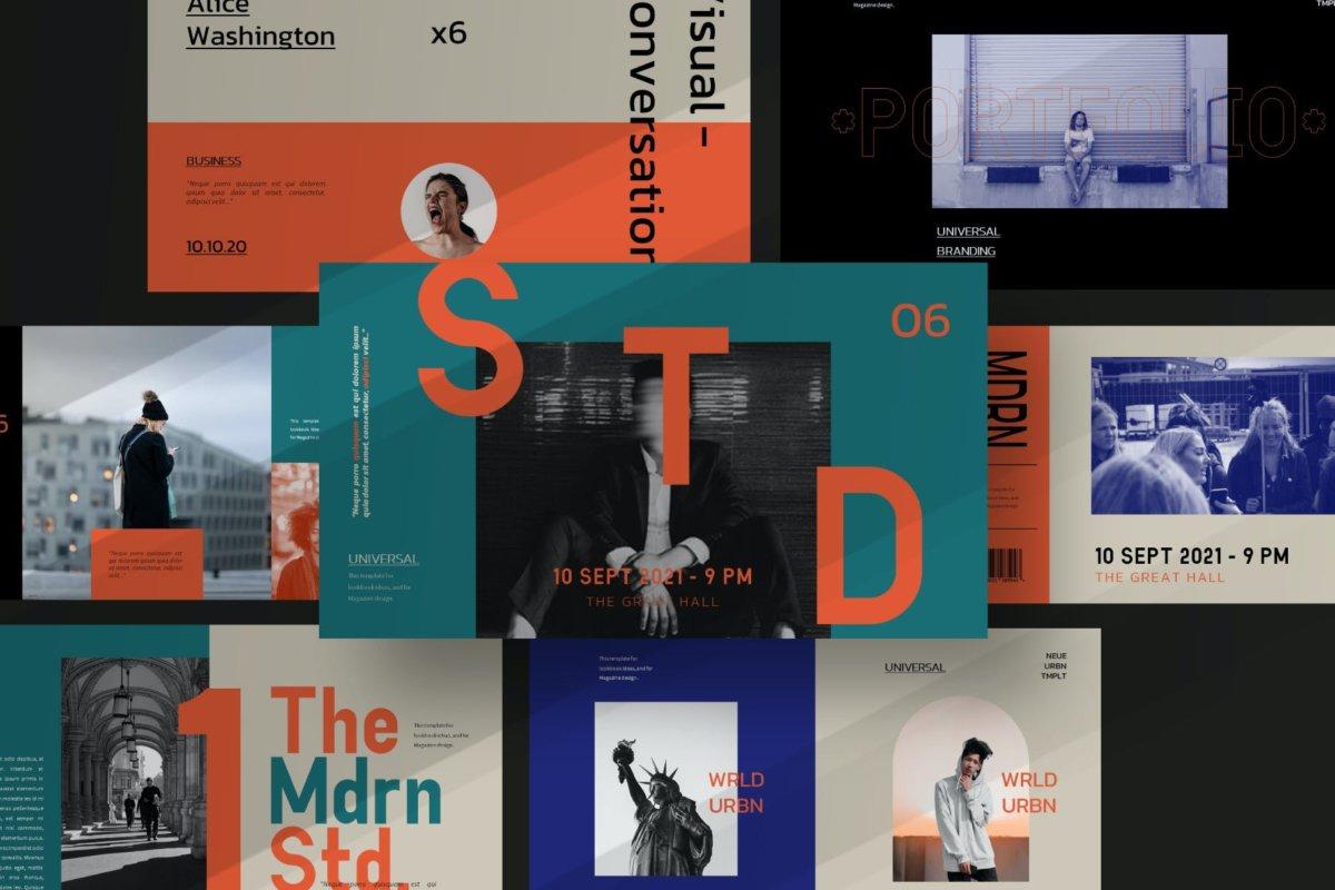 时尚潮流服装摄影作品集演示文稿设计PPT模板 Modern Line Powerpoint Template插图5