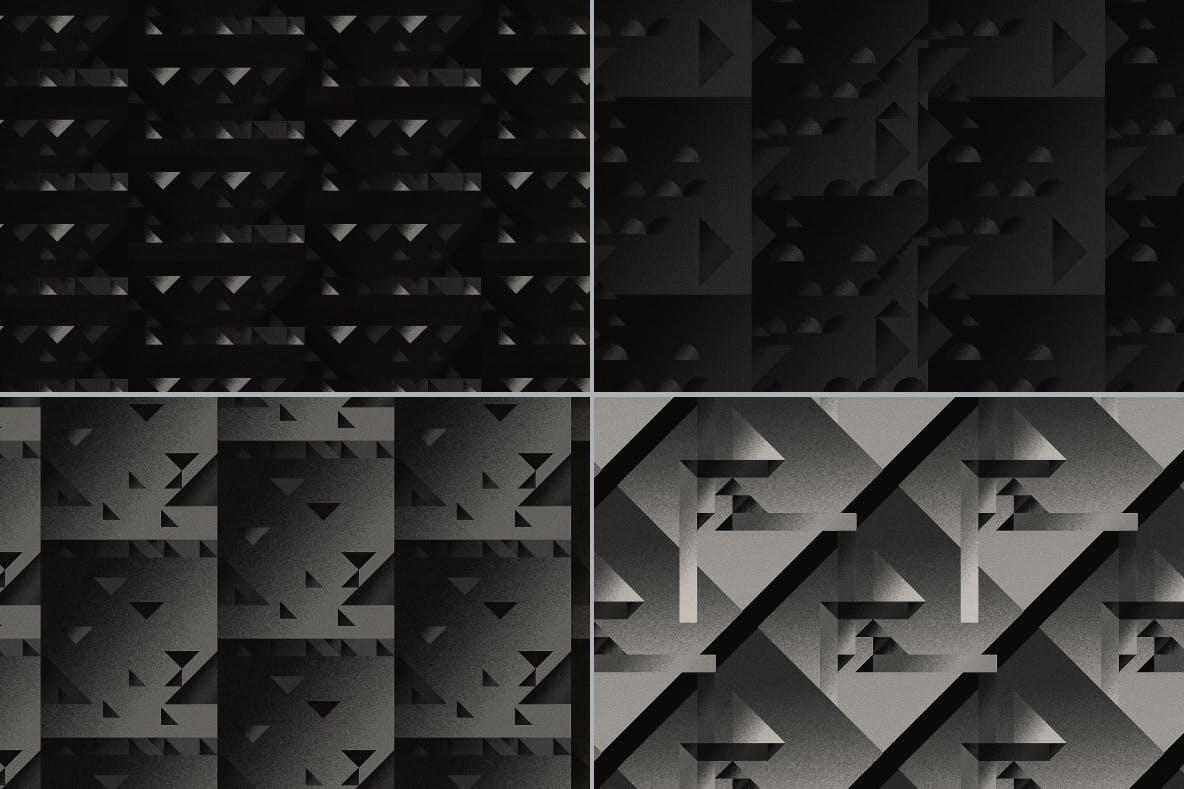 现代暗黑噪点颗粒渐变几何图形无缝隙背景图设计素材 Cubic Dark Patterns插图5