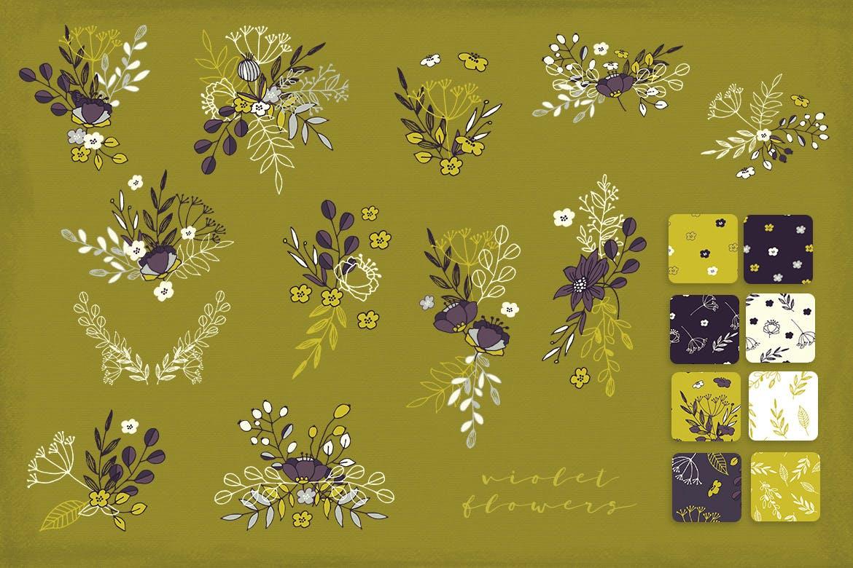 优美紫罗兰手绘插画矢量设计素材 Violet Flowers插图5