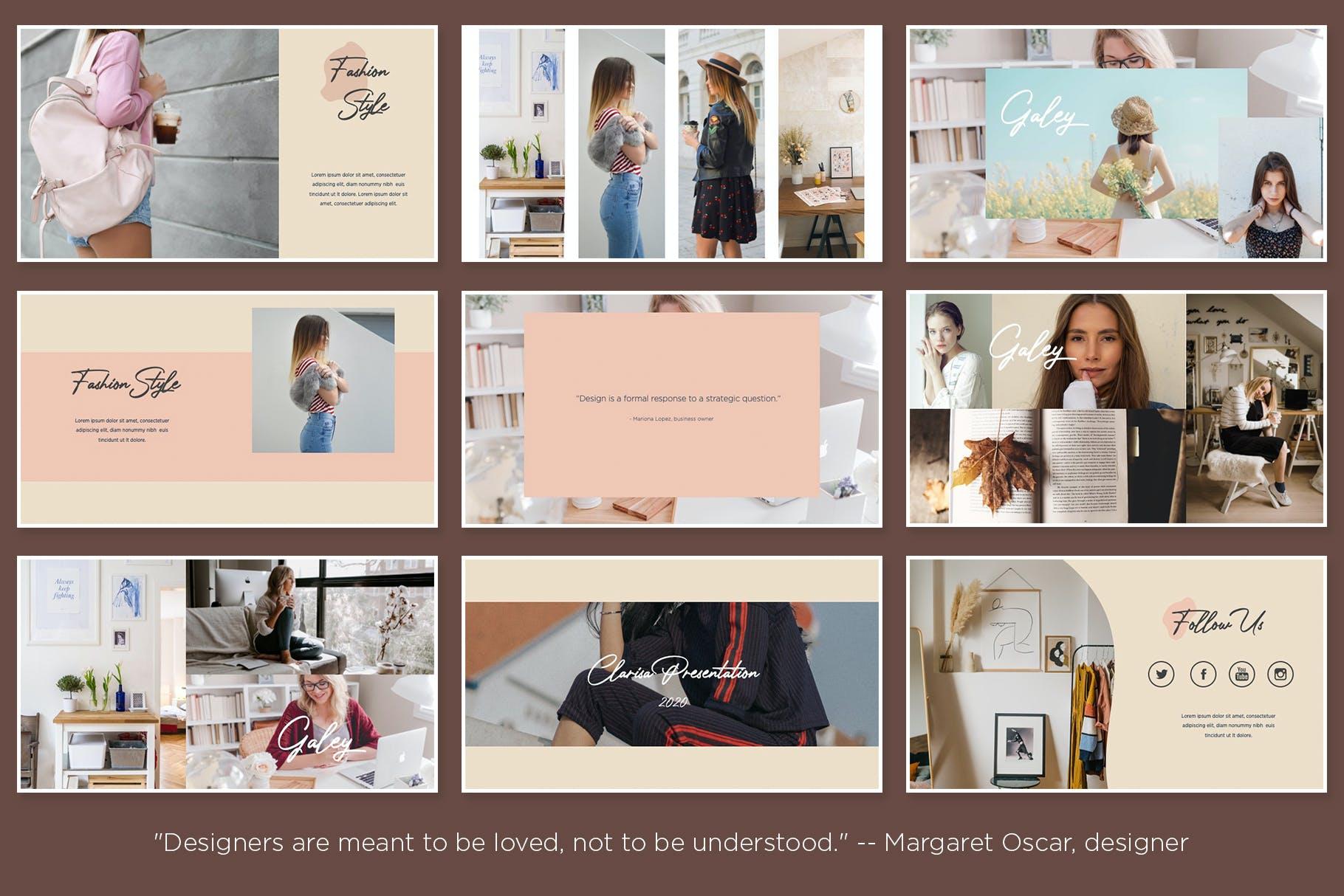 时尚优雅摄影作品集演示幻灯片设计模板 Clarisa Bundle Presentation插图5
