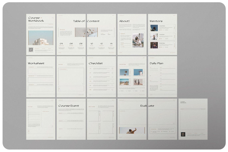 16页课程工作簿手册设计INDD模板素材 The Course Workbook  Minimal插图5