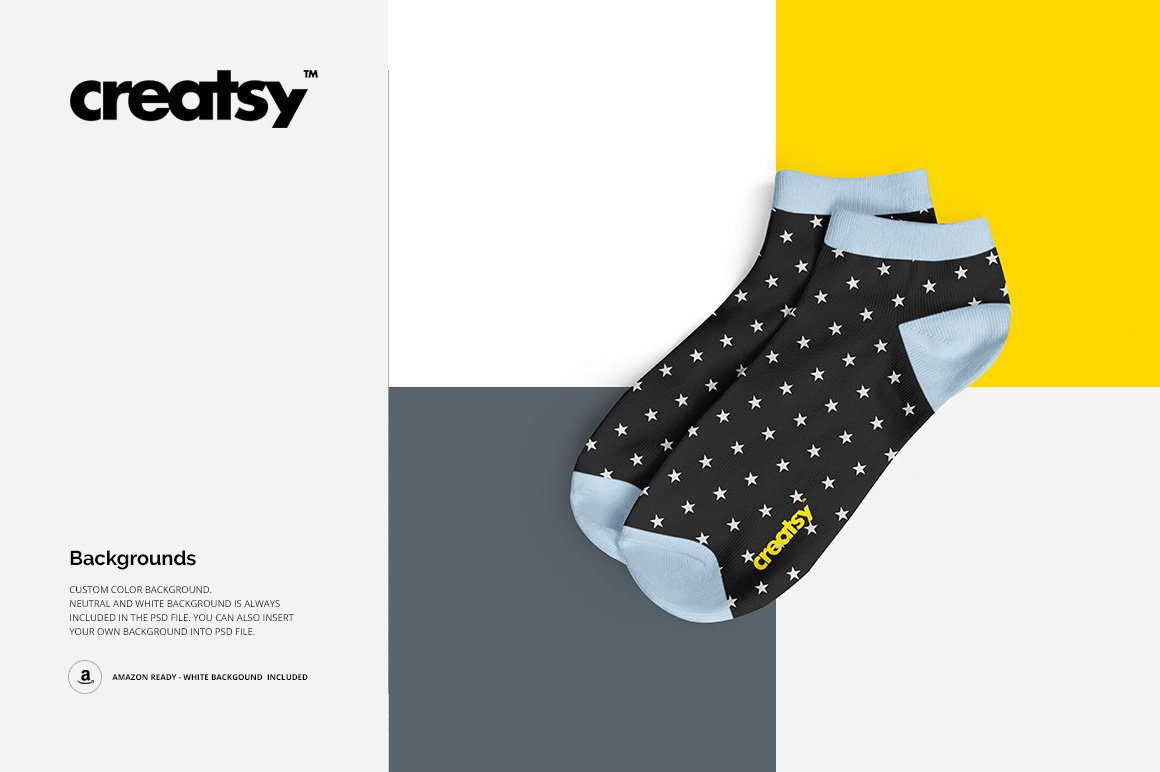 低帮袜子印花图案设计展示PS样机模板素材 Low Cut Socks 2 Mockup Set插图5