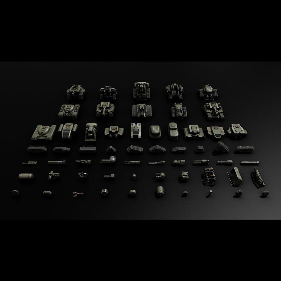 超炫酷科幻履带坦克战争战车炮塔设计3D模型素材 Kitbash3D – Veh.Tanks插图1