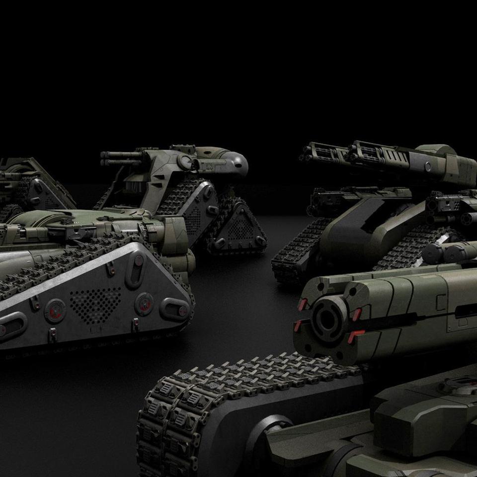 超炫酷科幻履带坦克战争战车炮塔设计3D模型素材 Kitbash3D – Veh.Tanks插图3