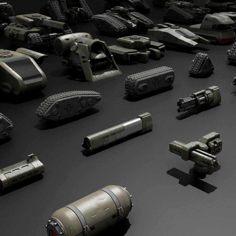 超炫酷科幻履带坦克战争战车炮塔设计3D模型素材 Kitbash3D – Veh.Tanks插图5