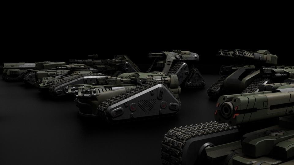 超炫酷科幻履带坦克战争战车炮塔设计3D模型素材 Kitbash3D – Veh.Tanks插图7