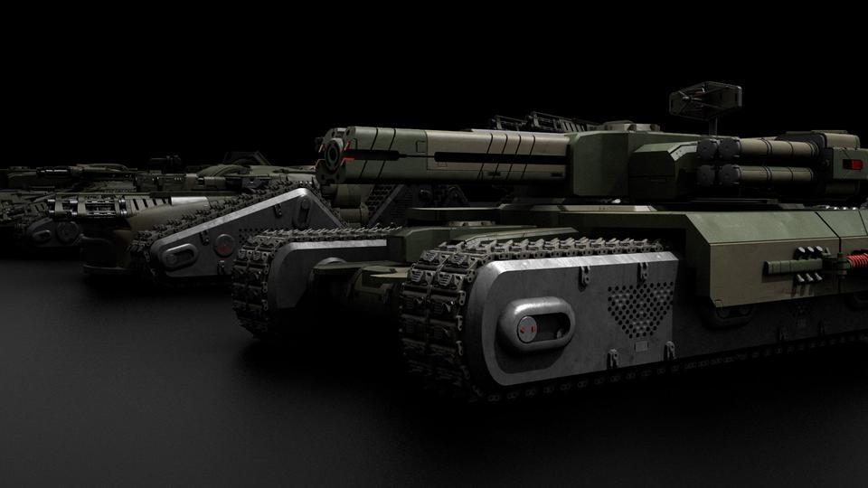 超炫酷科幻履带坦克战争战车炮塔设计3D模型素材 Kitbash3D – Veh.Tanks插图8