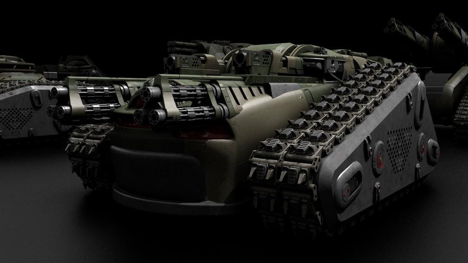超炫酷科幻履带坦克战争战车炮塔设计3D模型素材 Kitbash3D – Veh.Tanks插图9