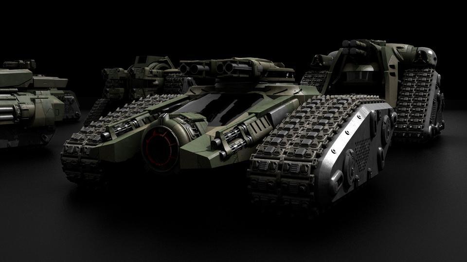超炫酷科幻履带坦克战争战车炮塔设计3D模型素材 Kitbash3D – Veh.Tanks插图10
