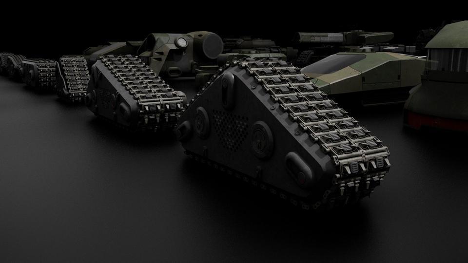 超炫酷科幻履带坦克战争战车炮塔设计3D模型素材 Kitbash3D – Veh.Tanks插图11
