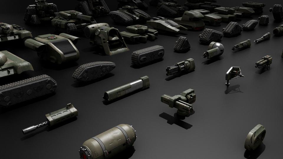 超炫酷科幻履带坦克战争战车炮塔设计3D模型素材 Kitbash3D – Veh.Tanks插图13