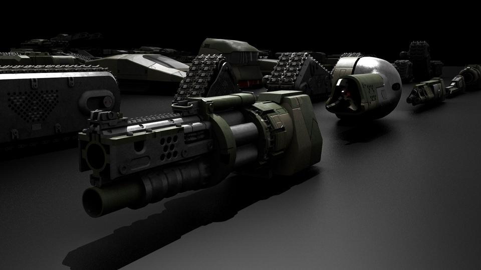 超炫酷科幻履带坦克战争战车炮塔设计3D模型素材 Kitbash3D – Veh.Tanks插图14