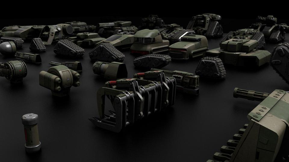 超炫酷科幻履带坦克战争战车炮塔设计3D模型素材 Kitbash3D – Veh.Tanks插图15