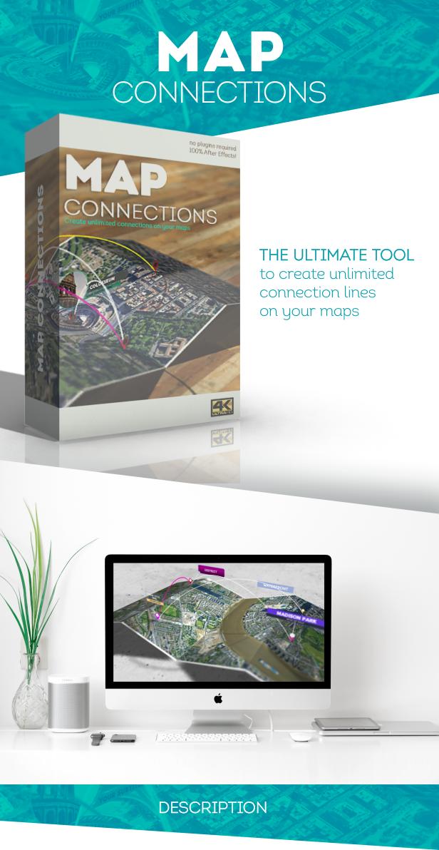 创意地球冲击地图连线路径地点方位标注动画AE模板素材 Videohive – Animated Map Toolkit插图1
