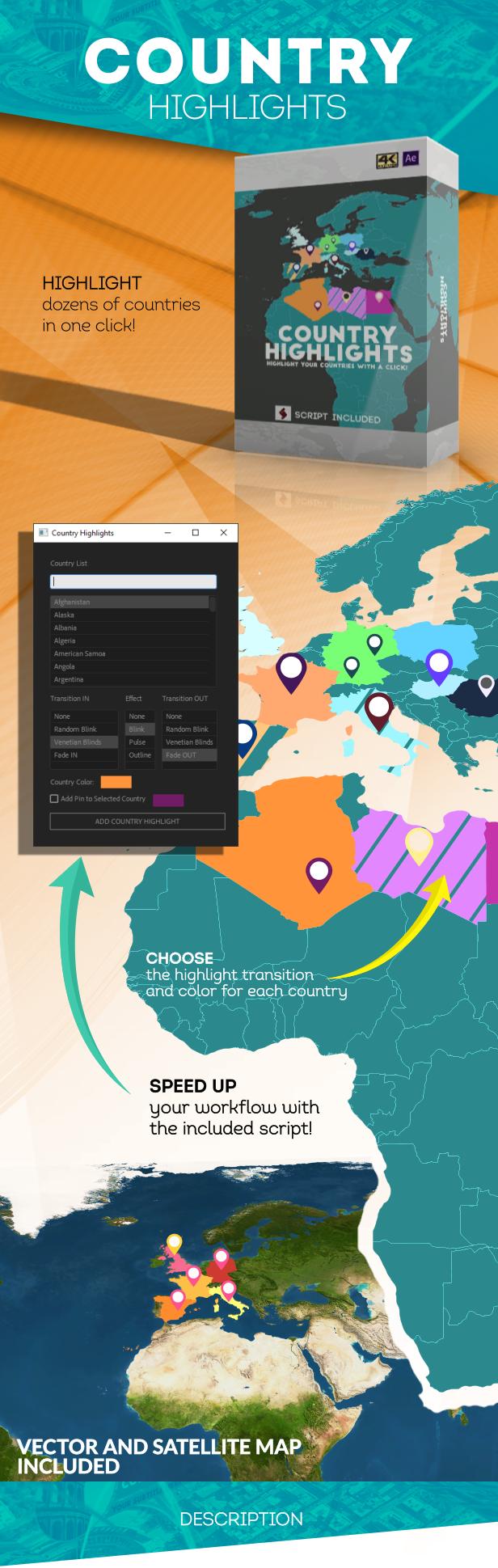 创意地球冲击地图连线路径地点方位标注动画AE模板素材 Videohive – Animated Map Toolkit插图5