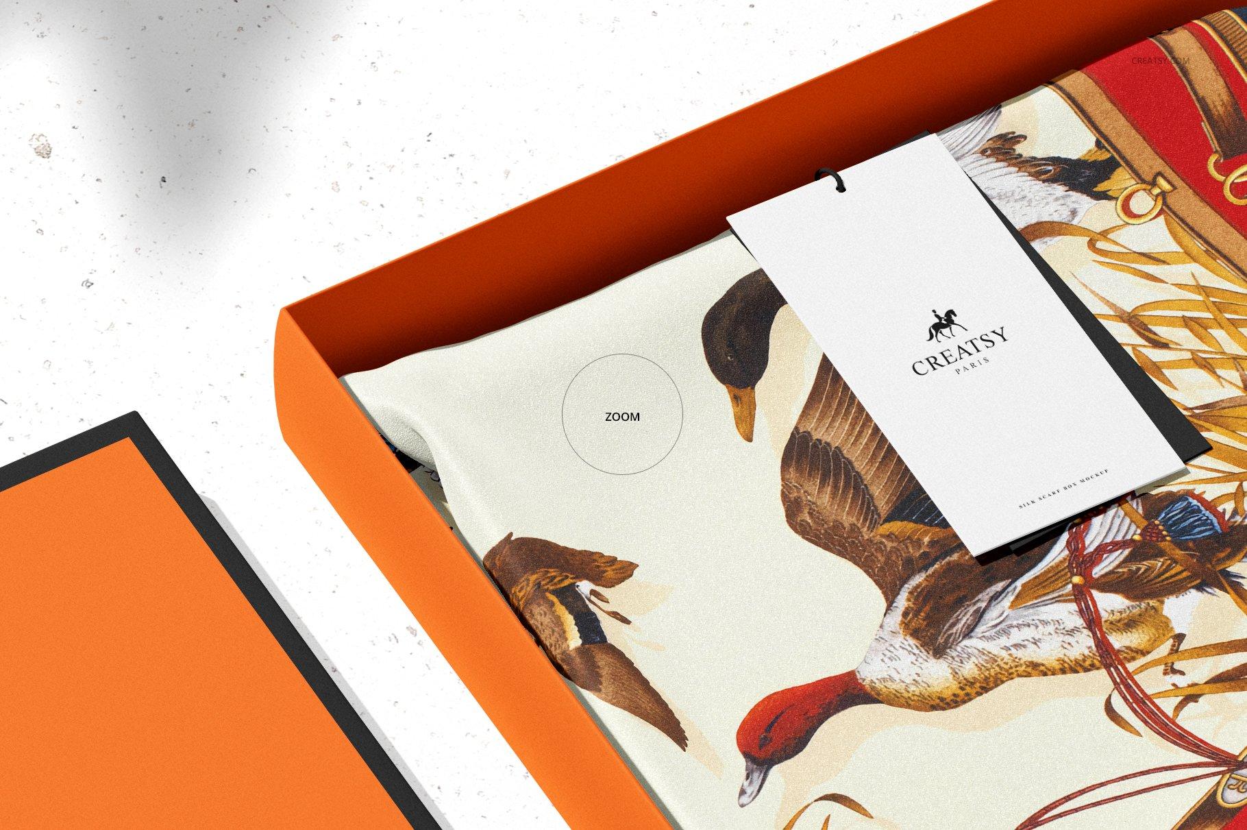 时尚真丝丝绸围巾印花图案设计展示样机 Silk Scarf Box Mockup Set 07/FFv.12插图9
