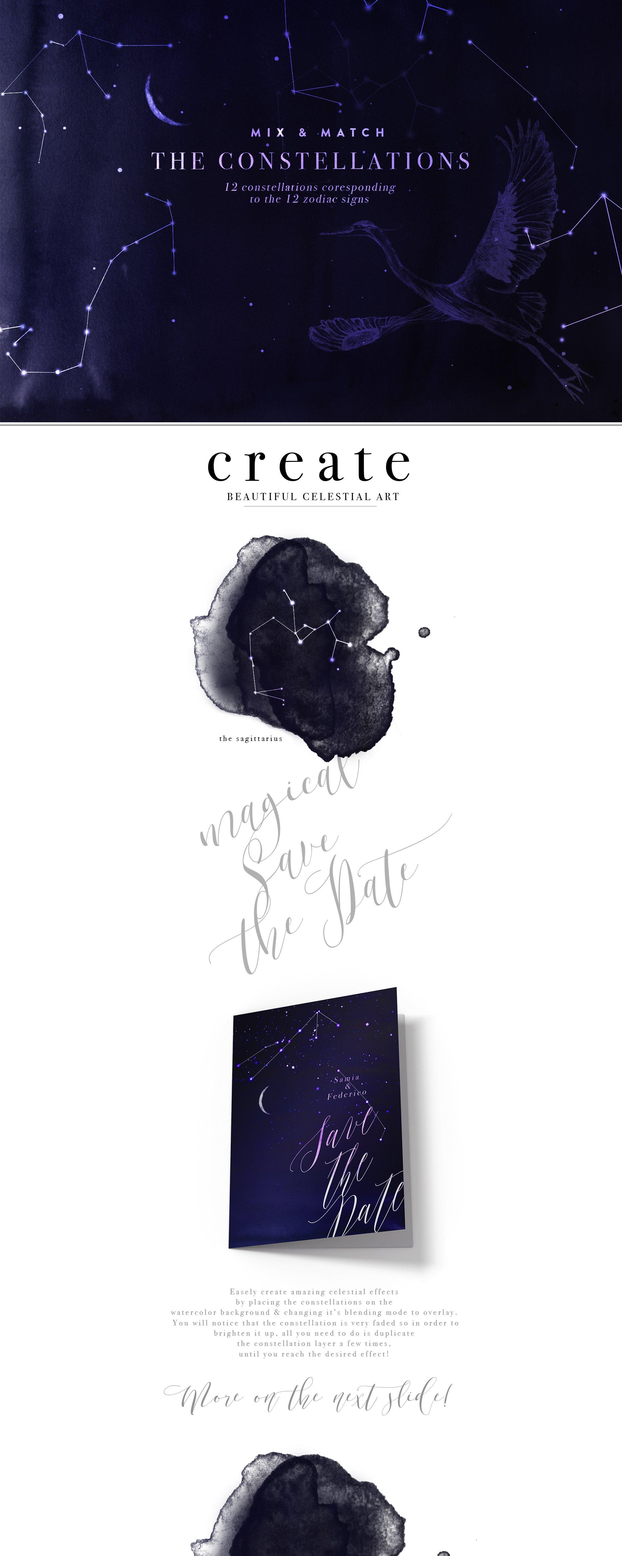 神奇星空字母水墨背景PNG透明图片设计素材 Starcrossed – Starry Design Set插图6