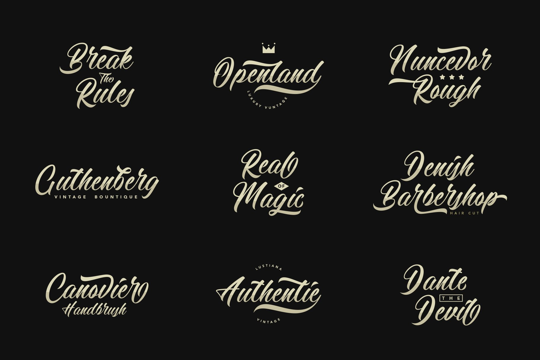 复古优雅品牌徽标Logo海报标题手绘英文字体素材 Calingham Font插图7