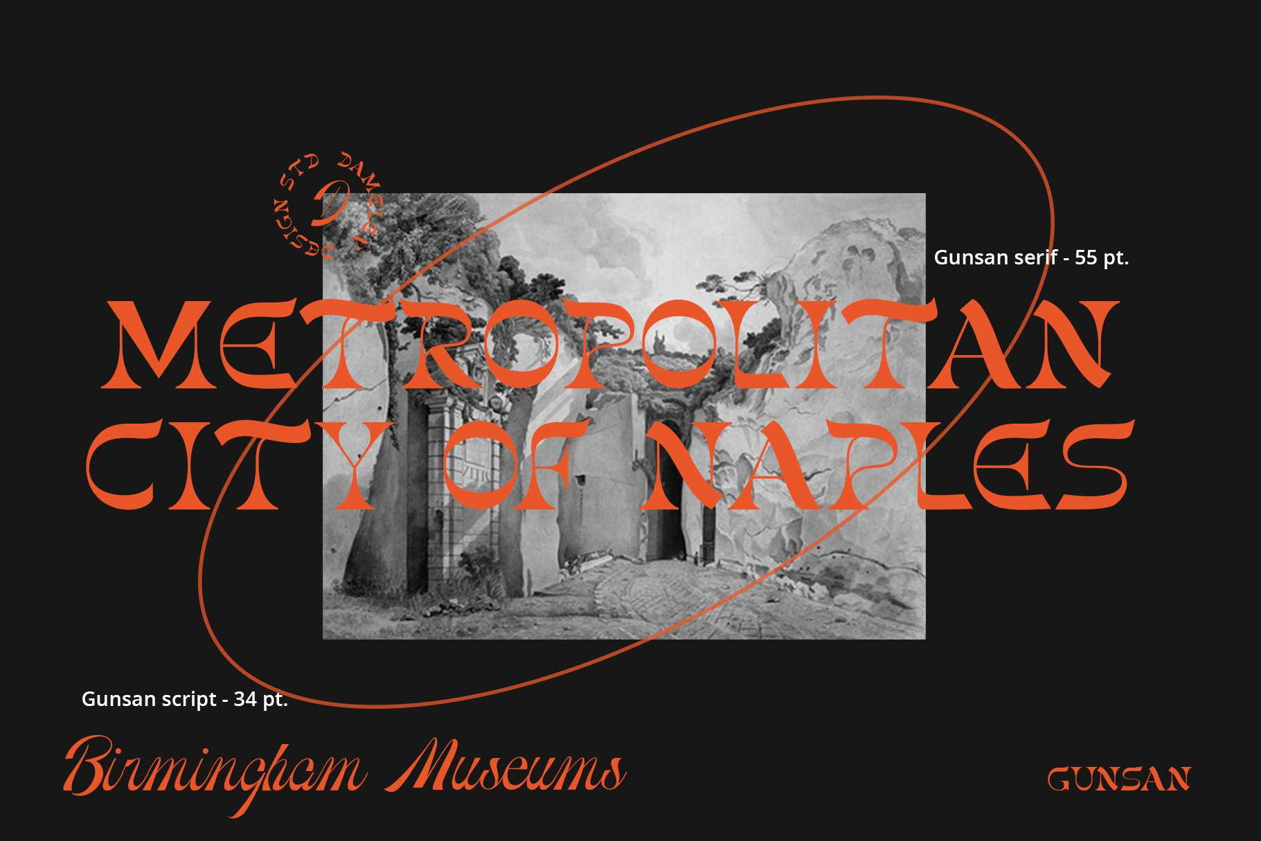 [单独购买] 潮流复古酸性艺术海报杂志Logo标题英文字体设计素材 Gunsan Font Duo插图3