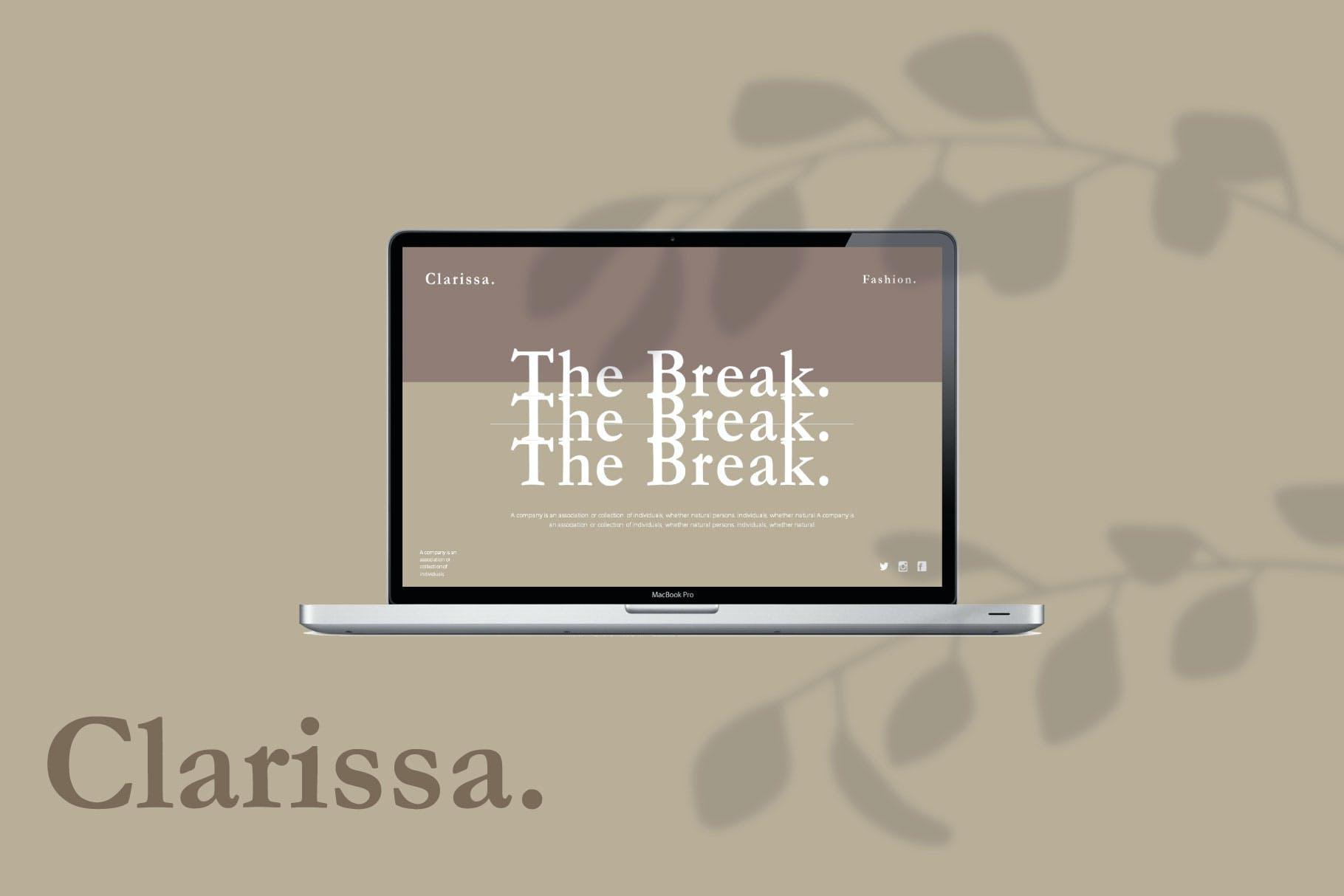 时尚简约摄影作品集图文排版幻灯片设计模板 Clarissa Bundle Presentation插图6