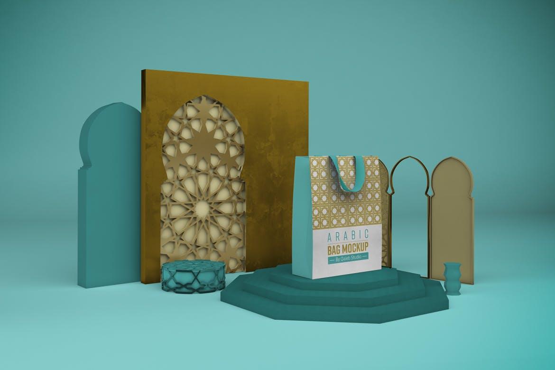 阿拉伯风格购物手提纸袋设计展示样机 Arabic Bag V.1 Mockup插图6