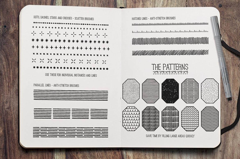 素描线条纹理涂鸦手绘Procreate笔刷素材 Fine Liner Brushes & Patterns插图6