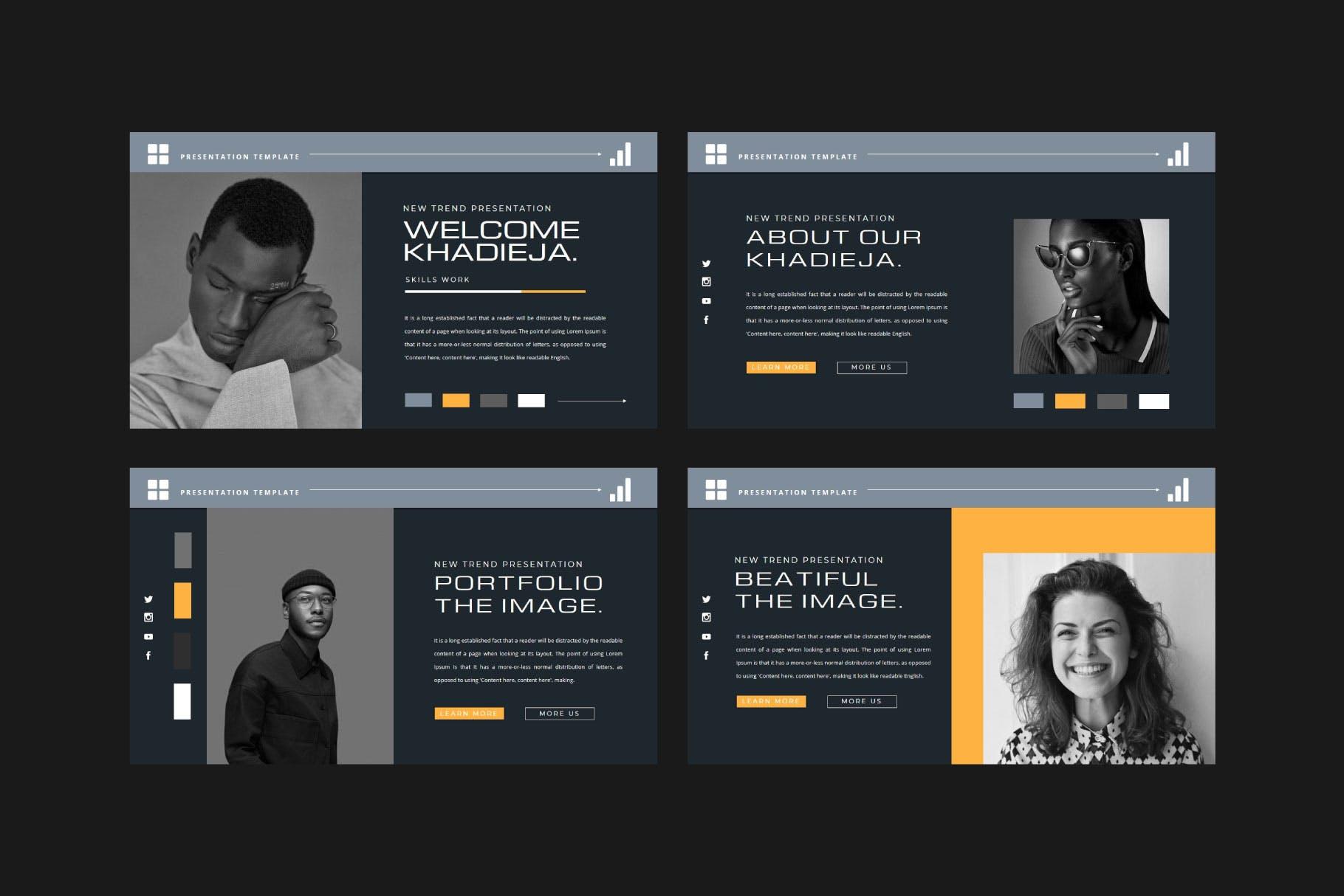 潮流品牌策划提案简报作品集设计演示文稿模板 KHADIEJA Powerpoint Template插图6