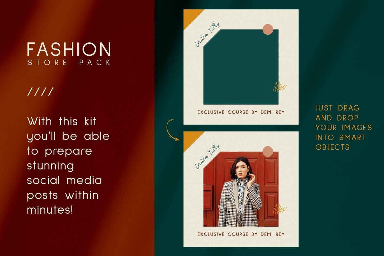 时尚典雅时装店品牌推广新媒体电商海报设计PSD模板 Fashion Store Instagram Posts Stories插图6