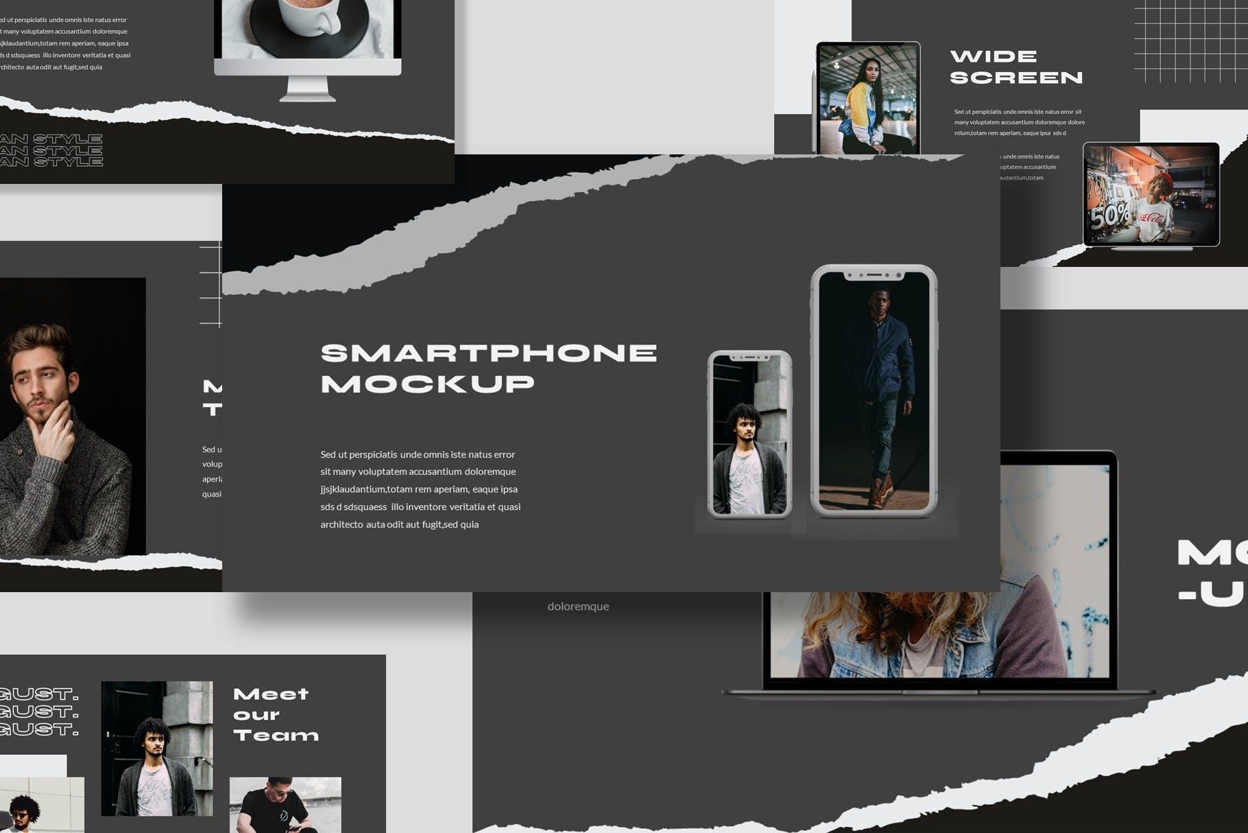潮流撕纸效果品牌策划提案简报演示文稿设计模板 Argust Powerpoint Template插图6