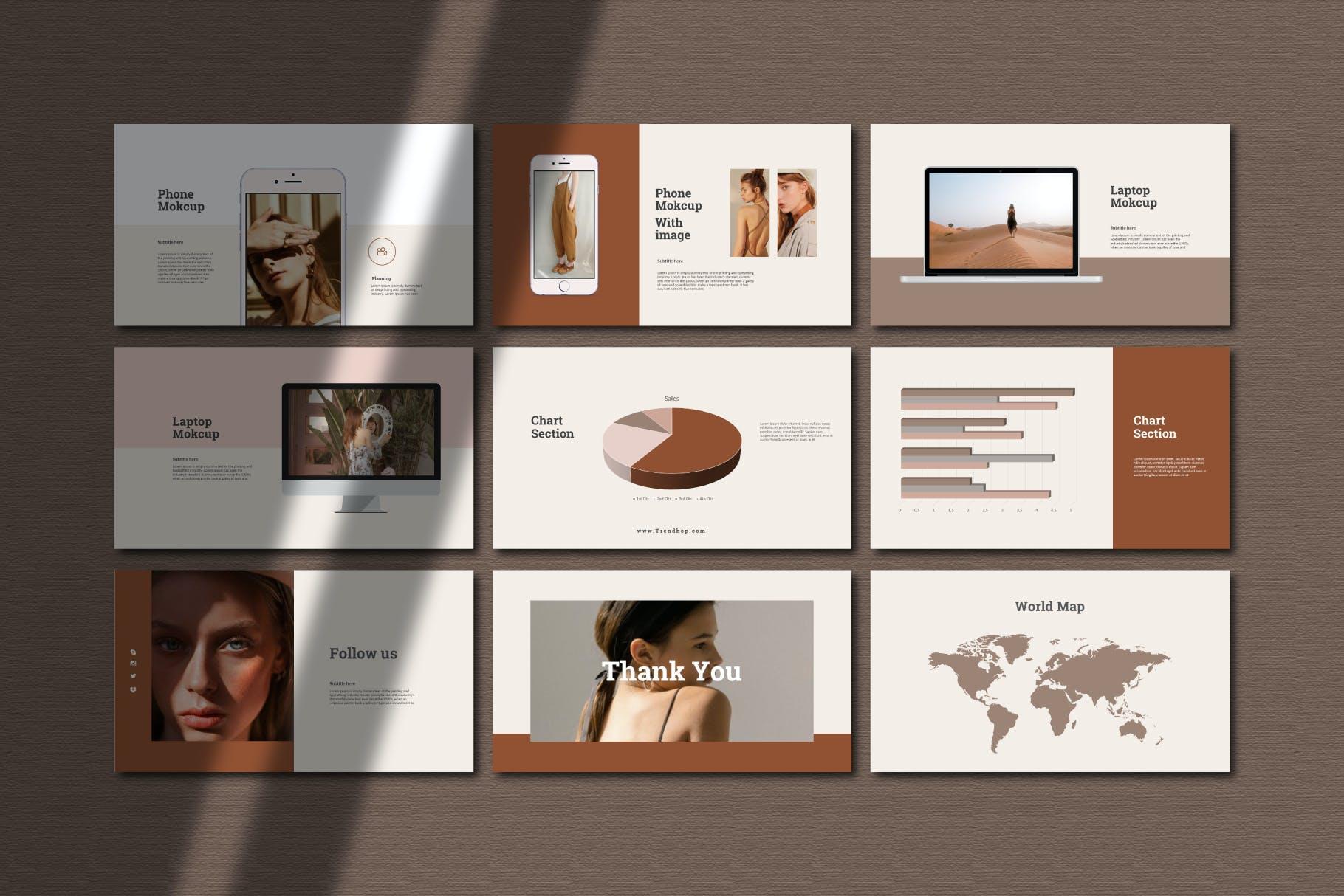 时尚奢华女性服装摄影作品集演示文稿模版 Trendhop Powerpoint Template插图6