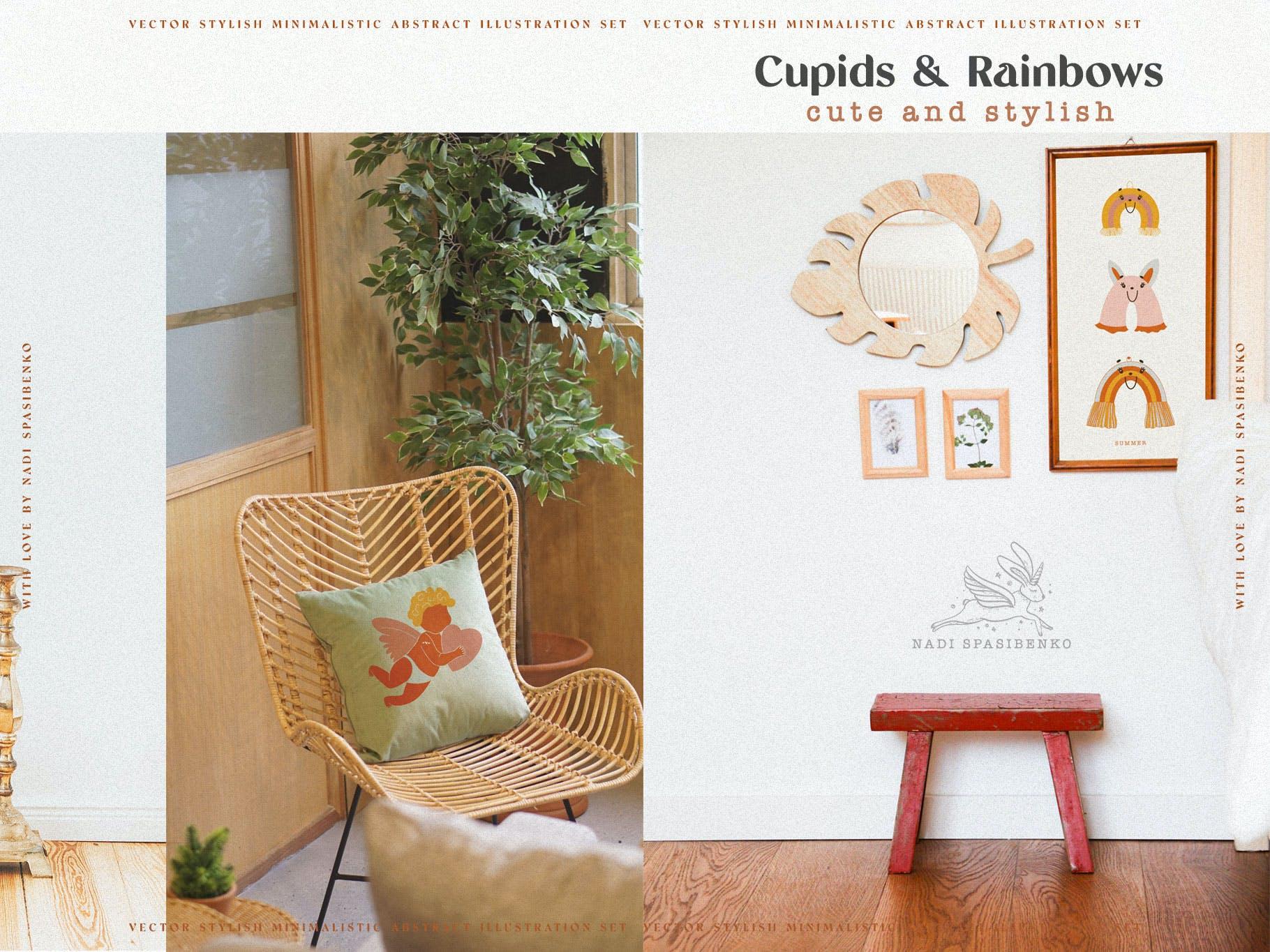 时尚抽象可爱卡通彩虹丘比特元素手绘插画矢量设计素材 Cupids & Cute Rainbows插图6