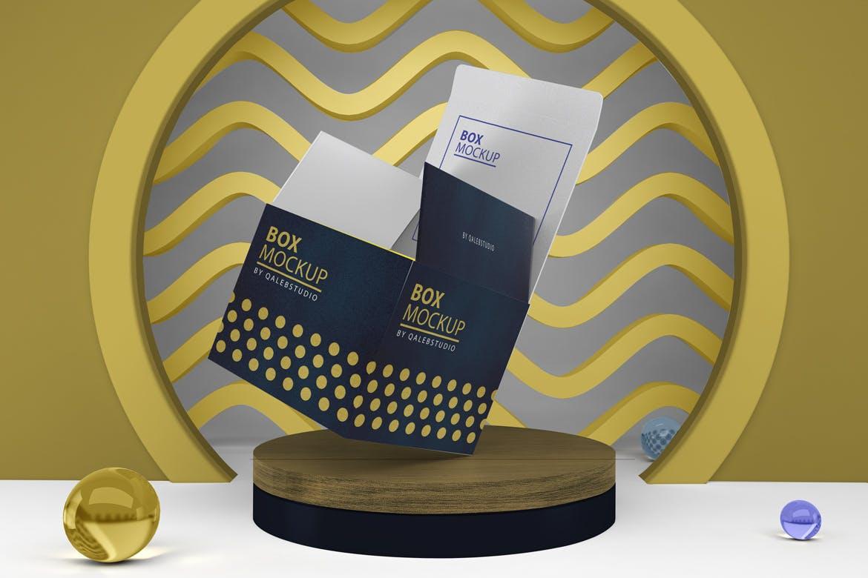 多角度方形产品包装纸盒设计PSD样机m'b Box Mockup V.5插图6