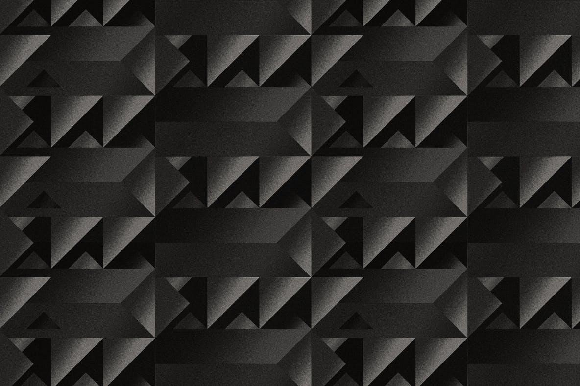 现代暗黑噪点颗粒渐变几何图形无缝隙背景图设计素材 Cubic Dark Patterns插图6