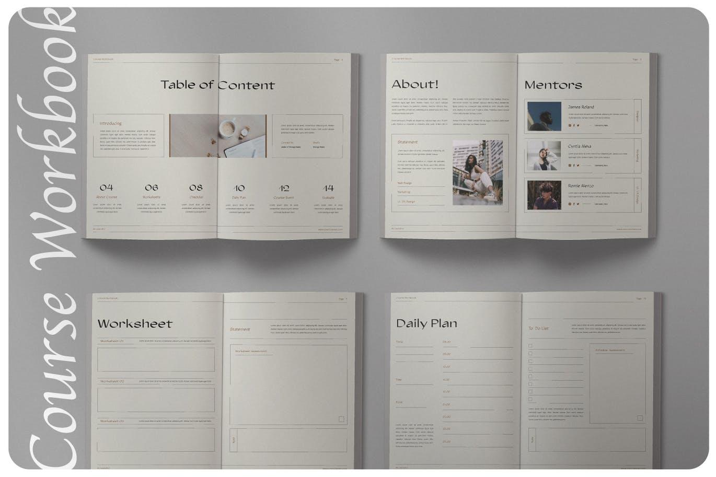 16页课程工作簿手册设计INDD模板素材 The Course Workbook  Minimal插图6