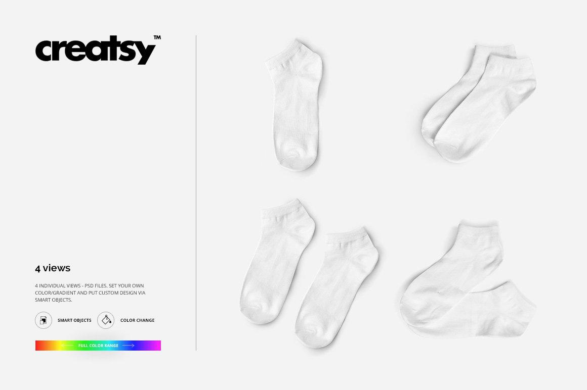 低帮袜子印花图案设计展示PS样机模板素材 Low Cut Socks 2 Mockup Set插图6