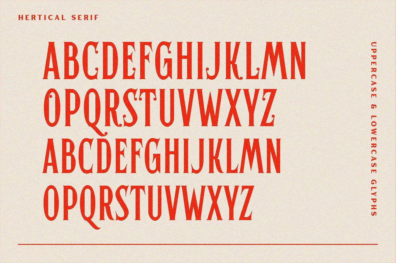 时尚复古标题徽标Logo衬线英文字体下载 Hertical Font插图7