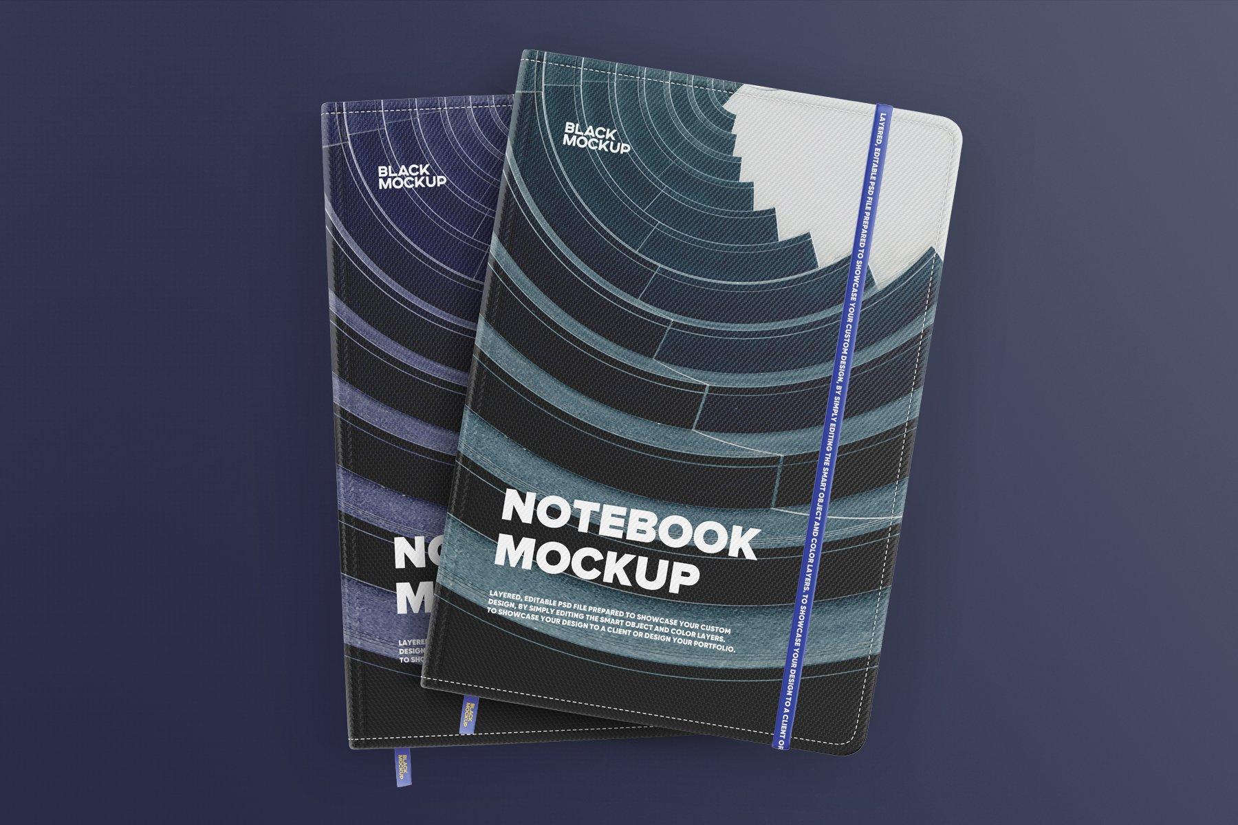 8款办公用品笔记本记事本设计PSD样机模板 Notebook In Craft Packaging Mockup插图7