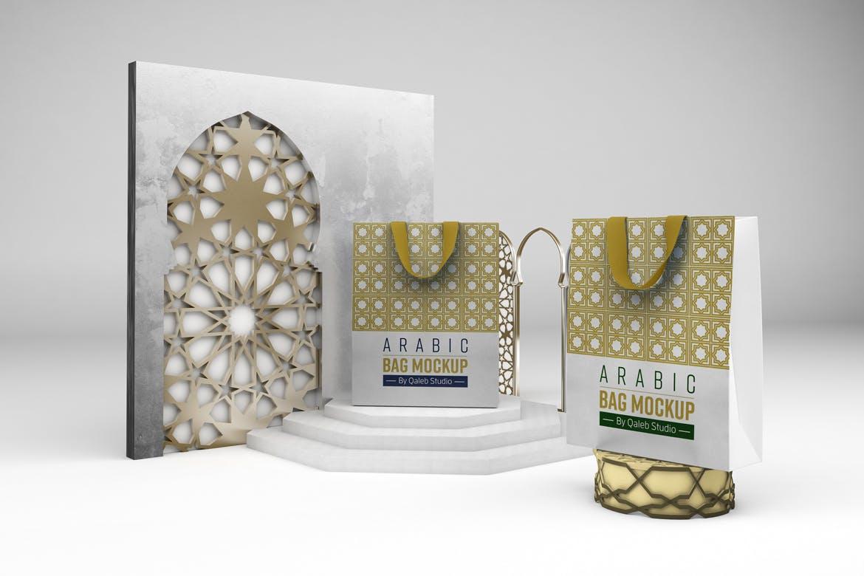 阿拉伯风格购物手提纸袋设计展示样机 Arabic Bag V.1 Mockup插图7