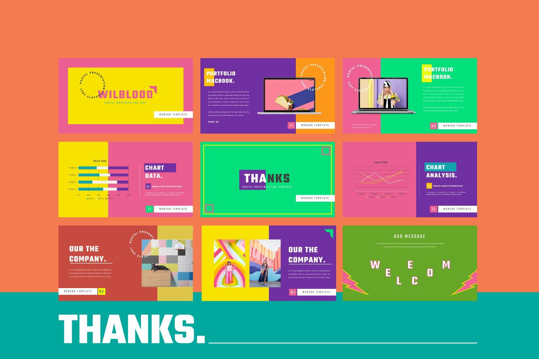 时尚炫彩服装策划提案简报作品集设计模版 WILBLOOD – Keynote Template插图7