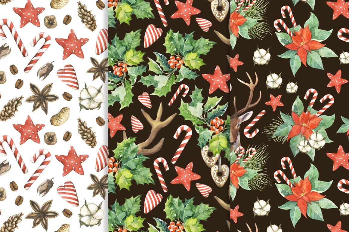 19个圣诞节主题松枝鹿角手绘剪贴画JPG图片素材 Watercolor Christmas Magic Patterns插图7