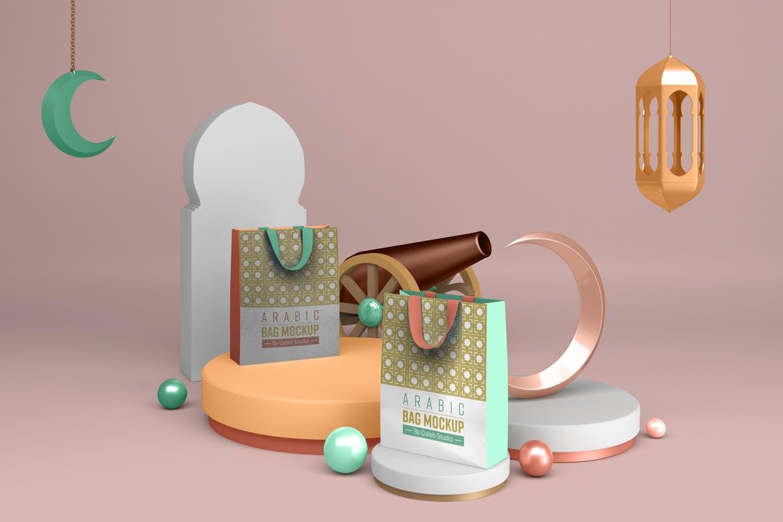 阿拉伯风斋月购物手提袋设计PSD样机模板 Ramadan Bag插图1