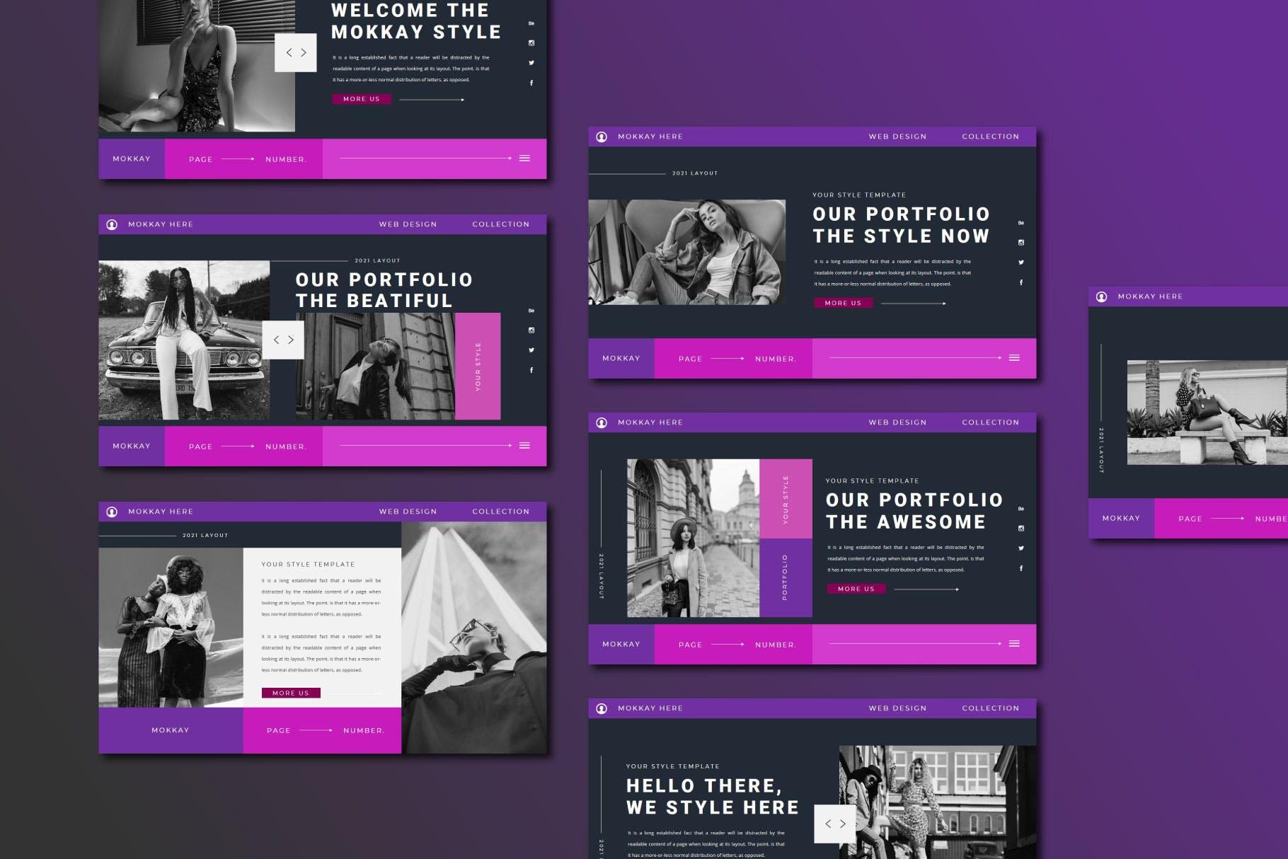 潮流服装摄影作品集图文排版 Keynote设计模板 MOKKAY Keynote Template插图7