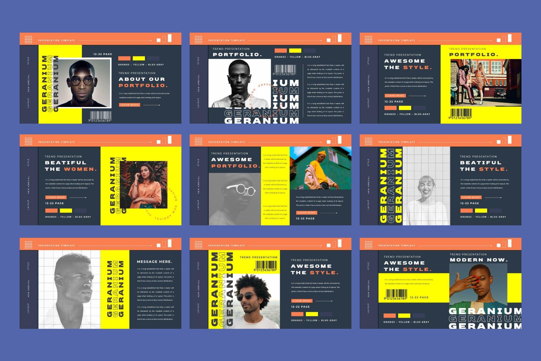 潮流品牌营销提案简报作品集设计模板 GERANIUM Powerpoint Template插图7