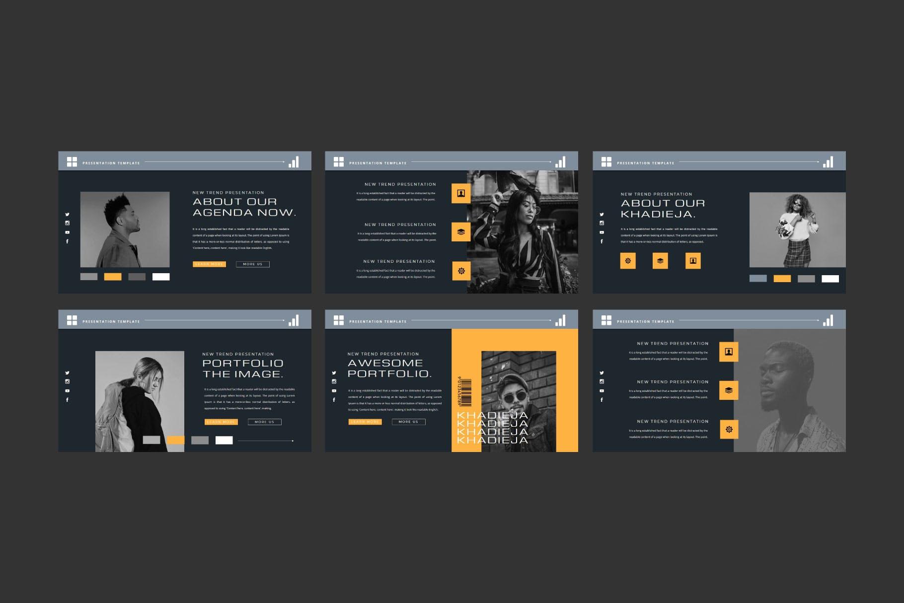 潮流品牌策划提案简报作品集设计演示文稿模板 KHADIEJA Powerpoint Template插图7