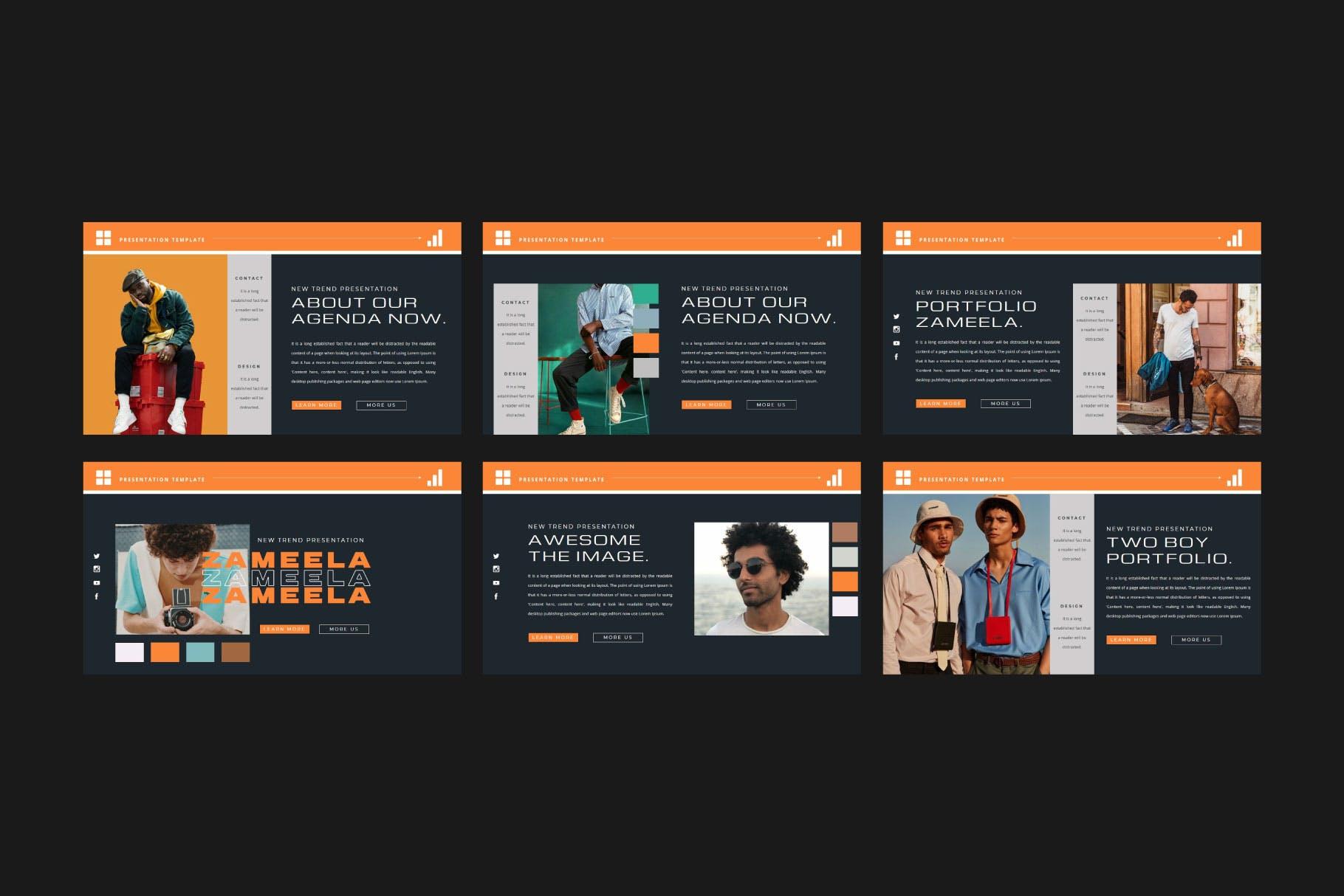 潮流品牌服装摄影作品集演示文稿设计模板 ZAMEELA Powerpoint Template插图7