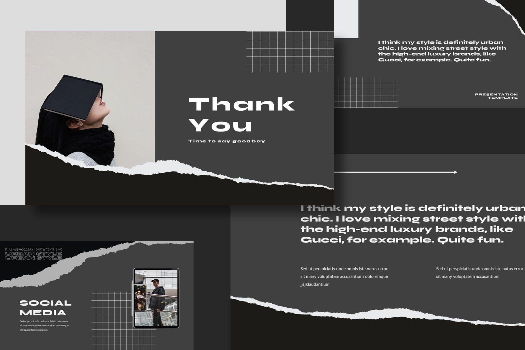 潮流撕纸效果品牌策划提案简报演示文稿设计模板 Argust Powerpoint Template插图7